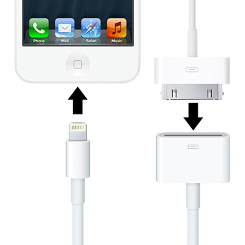 30 Pin Female to Lightning 8 Pin Male Sync Data Cable Adapter for iPhone 5 / iPad mini / mini 2 Retina / iPad 4 / iPod touch 5, Length: 20cm (Available in 4 colors)