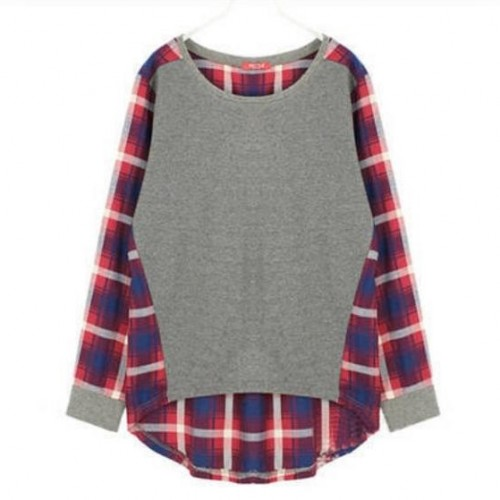 Women Plaid Round-Neck Long Sleeve Casual Loose T-shirt Tops Blouse