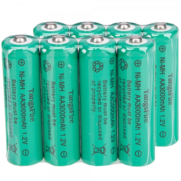 8Pcs TangsFire AA 3000mAh 12V Rechargeable Ni MH Battery Green