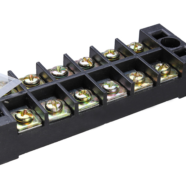 Dual 6 Position 25A 600V Screw Terminal Strip Covered Barrier Block