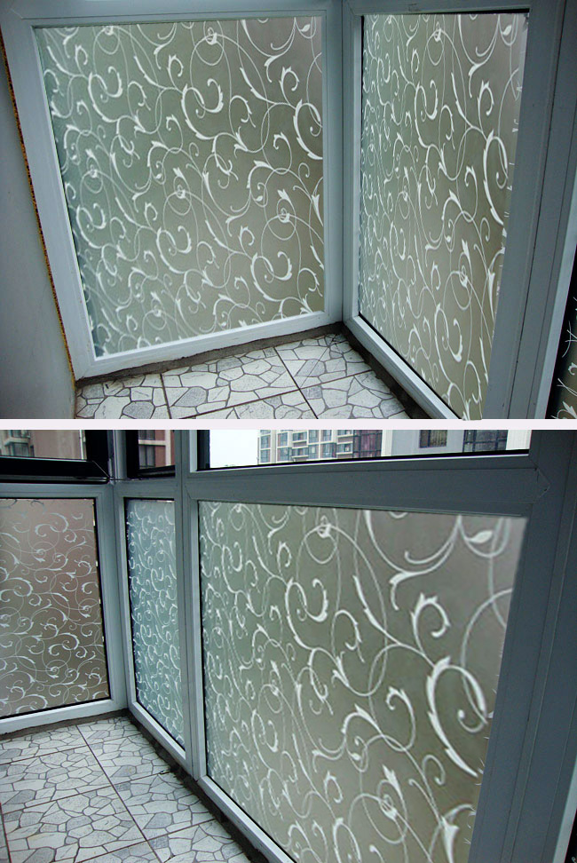 45x100cm Frosted Glass Film Privacy Scroll Flower Window