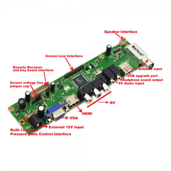 Universal LCD Driver Board with HDMI Interface USB Upgrade Green & Black