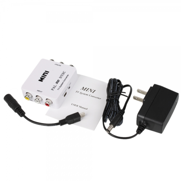Mini TV Format PAL to NTSC/NTSC to PAL System Converter White