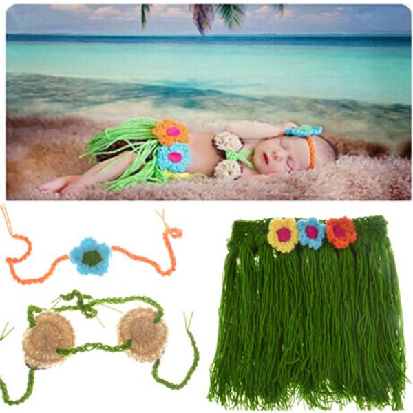 5ccf9b0c30b24 Baby Infant Hula Skirt Crochet Costume Photography Prop Clothes ...