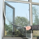 White Insect Mosquito Door Window Mesh Screen Sticky Velcro Tape Net