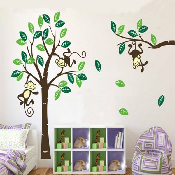 monkey on tree art removable wall stickers baby room home animals zoo waterproof removable wall sticker decal for
