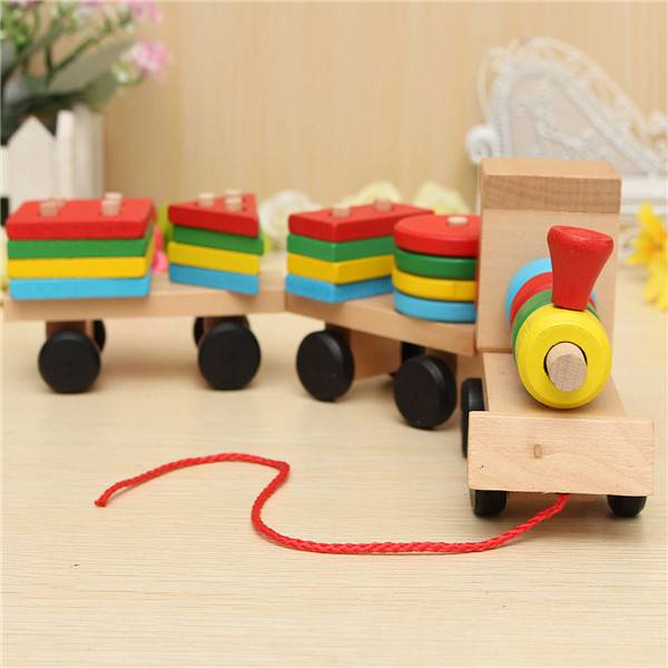 Wood Puzzle Train Toys Geometric Building Blocks Education ...