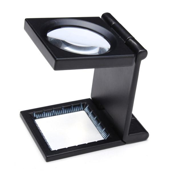 Mini Desk Style 10x Magnification Loupe Metal Antique Magnifier (Black)