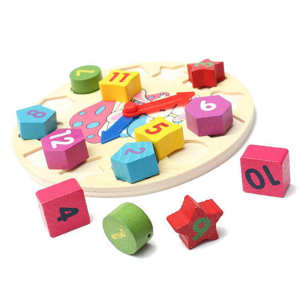 Baby Children Number Geometry Clock Wooden Puzzle Bricks Toy