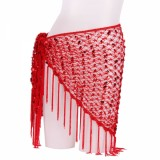 Belly Dance Mesh Hip Scarf Shawl Red