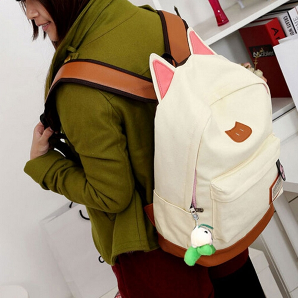 Fashion Casual Zipper Closure Canvas School Bag with Cat Ears White