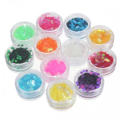 12 colors nail art tips hexagon glitter paillette for Paillette decoration