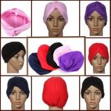 Stretchy Turban Maternity Sleep Hat Chemo Bandana Hijab Pleated Cap