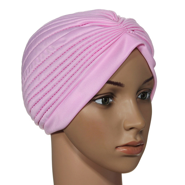 20a0913123a Stretchy Turban Maternity Sleep Hat Chemo Bandana Hijab Pleated Cap ...