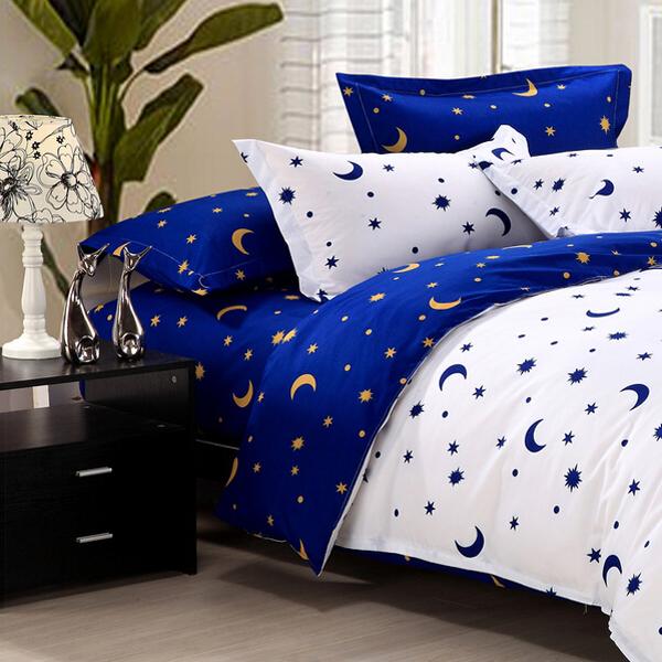 New 4Pcs Suit Star Moon Cotton Reactive Printed Bedding Sets | Alexnld.com YJ18