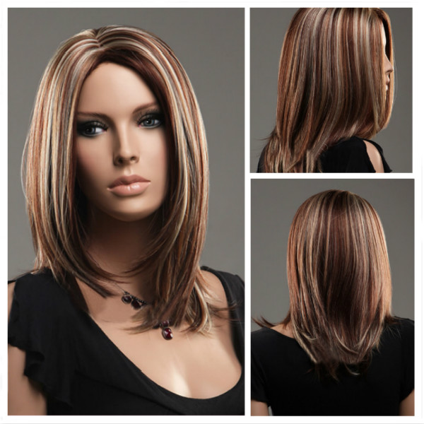 Parted Middle Highlights Color Long Straight Hair Wigs ...