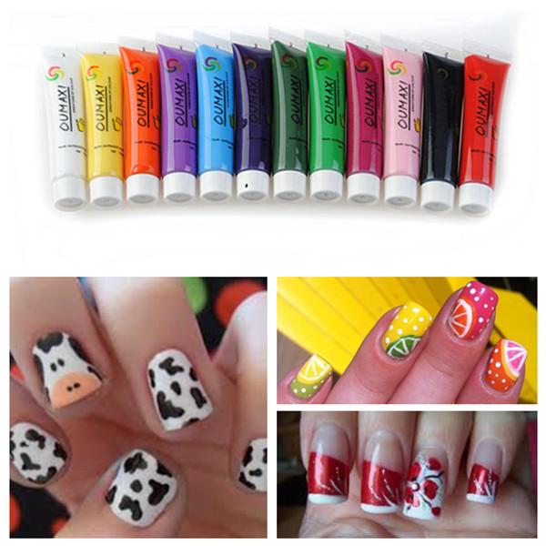 12 Colors Acrylic 3D Paint Nail Art Painting Pigment Tips Set ...