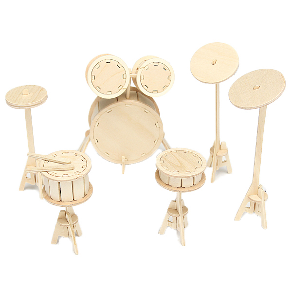 3d Wooden Diy Drum Modelling Kit Model Puzzle Woodcraft Toy Kid