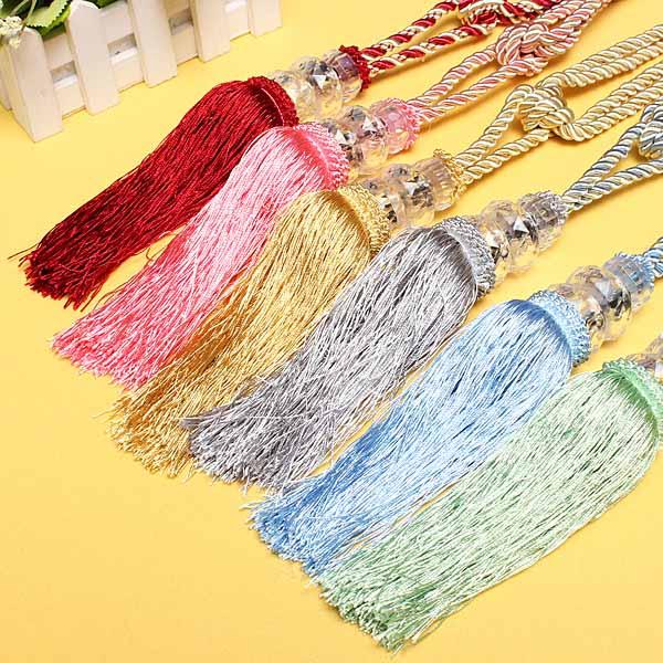 1 Pair Crystal Beaded Tassels Tieback Curtain Cord 6
