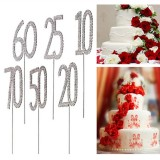 Sparkling Crystals Birthday Anniversary Number Cake Topper
