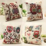 Cute Owl Linen Cotton Throw Pillow Case Sofa Cushion Cover