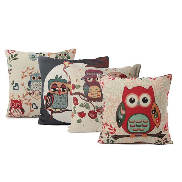 Cartoon Animal Owl Print Pillow Case Home Office Car Pillowcase Alex NLD