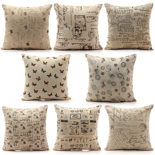 Vintage Shabby Chic Linen Pillow Case Home Bed Decor Cushion Cover Alex NLD