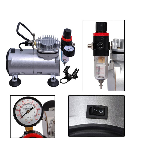 OPHIR 110V/220V Airbrush & Air Compressor Kit Dual-Action Spray Gun Set Tattoo