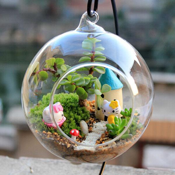 ball shape hanging glass vase succulent plants micro. Black Bedroom Furniture Sets. Home Design Ideas
