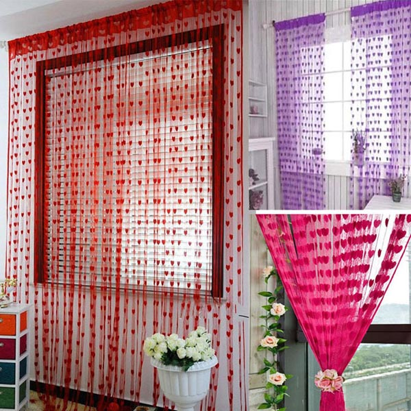 Beautiful tassel heart shaped door window curtain home for Heart decorations home