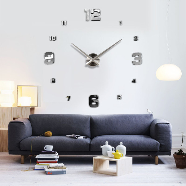 Large Diy Wall Clock Home Decor Mirror Sticker Art