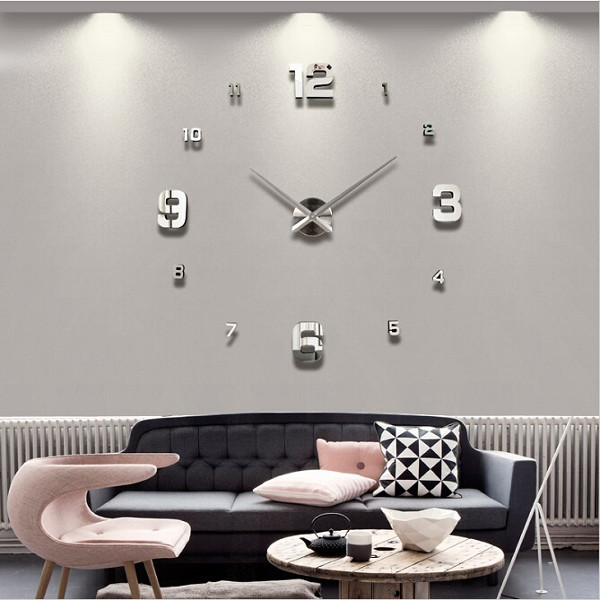 Wall Clock Decor large diy 3d wall clock home decor mirror sticker art | alex nld