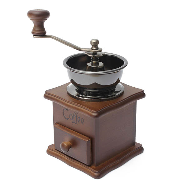Hand Coffee Grinder ~ Retro wooden coffee bean hand grinder family mini flour