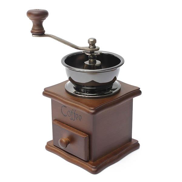 Retro Wooden Coffee Bean Hand Grinder Family Mini Flour Mill