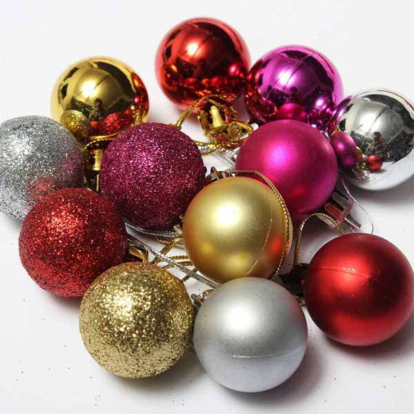 Decorative Christmas Ball Ornaments: 24pcs Xmas Tree Decoration Christmas Glitter Balls