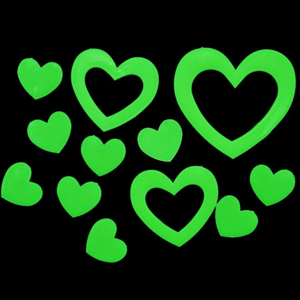 3 Bags Cute Love Heart Glow Wall Sticker Home Wall Decor Alexnld