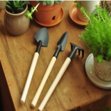 3Pcs Mini Shovel Rake Spade Wood Handle Metal Head Tool Garden