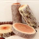 Novelty Stump Log Wood Pillow Sycamore Home Office Car Soft Cushion