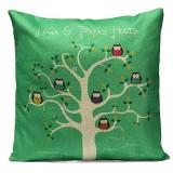 Linen Owls Bird Tree Throw Pillow Case Sofa Cushion Cover