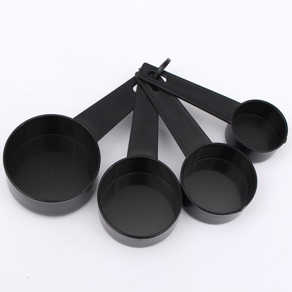 10Pcs Black Plastic Measuring Spoon Cup Set Cooking Tools For Baking