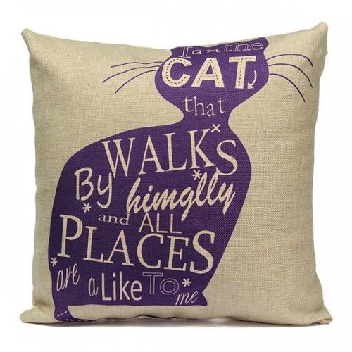 Linen Cartoom Cats Throw Pillow Case Cushion Cover Home Decor
