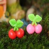DIY Miniature Simulation Cherry Ornaments Potted Plant Garden Decor