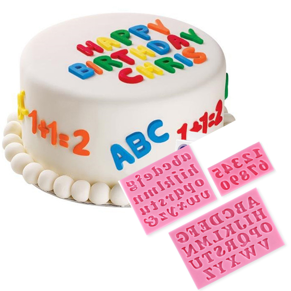 3pcs Letters Numbers Fondant Cake Molds Soap Chocolate Mould
