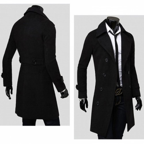 Top-level Fashionable Double-breasted Double Woolen Sides Long Type Men's Trench Coat Overcoat Black M