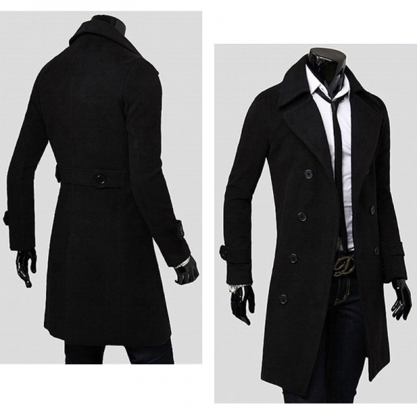 top-rated latest best supplier 100% quality quarantee Top-level Fashionable Double-breasted Double Woolen Sides Long Type Men's  Trench Coat Overcoat Black M