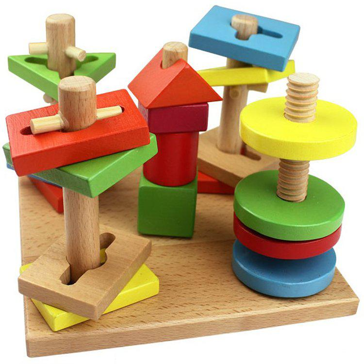 Wooden Toys For Toddlers And Kids : Children wooden toys five column suit colorful building
