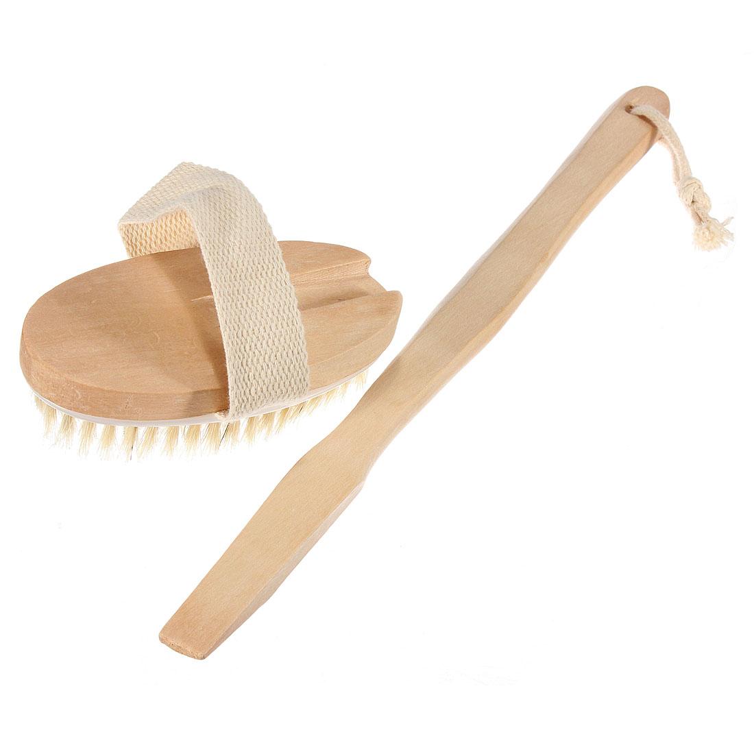 Wooden Body Brush Massager Bath Shower Back Spa Scrubber