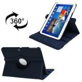 360 Degree  Rotation Lichi Texture Leather Case with Holder for Samsung Galaxy Tab 3  (10.1) / P5200 / P5210, Dark Blue (Dark Blue)