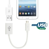 Micro USB OTG Connection Cable for Samsung Galaxy Tab 3  (8.0 / 10.1) T310 / P5200, Note 10.1 (2014 Edition)/P600, GALAXY Tab 4  (7.0 / 8.0 / 10.1) T230 / T330 / T530, Galaxy Tab Pro  (8.4/ 10.1) T320 / T520, i9500 / i9300 / N7100, Length: 15cm (White)