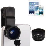 3 in 1 Photo Lens Kit  (180 Degree Fisheye Lens + Super Wide Lens + Marco Lens) for iPhone 5 / iPhone 4 & 4S / iPad 4 / iPad mini 1 / 2 / 3 / New iPad  (iPad 3) / iPad 2 / iPad / Samsung N7100,Other Mobile Phone with Camera (Black)